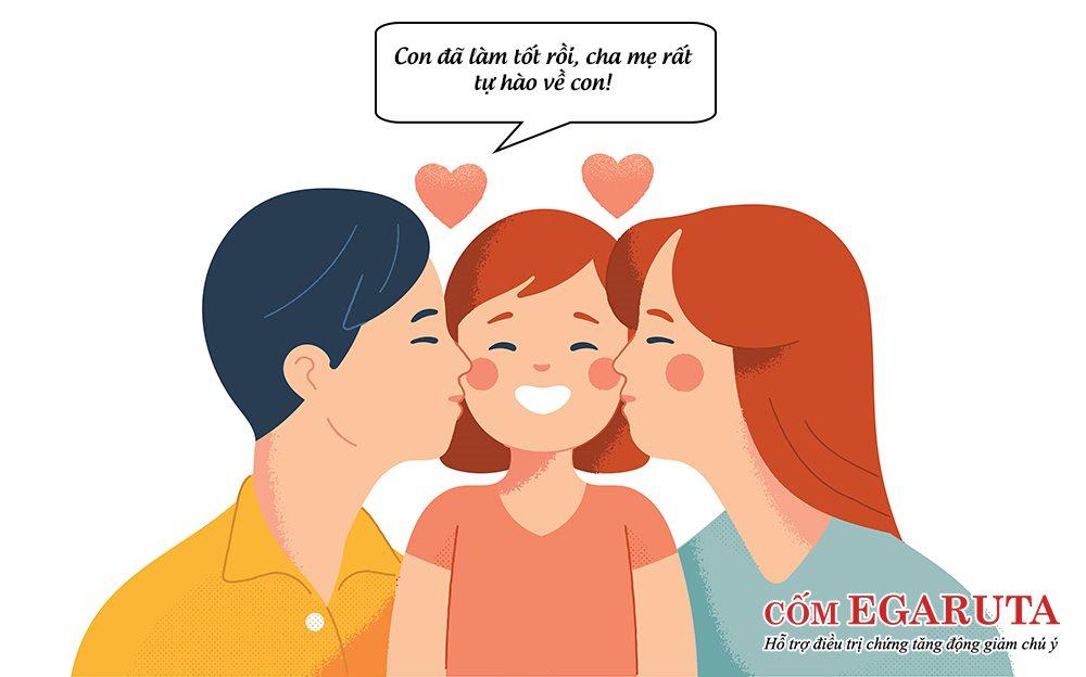 Cha mẹ nên thường xuyên khen ngợi, động viên trẻ